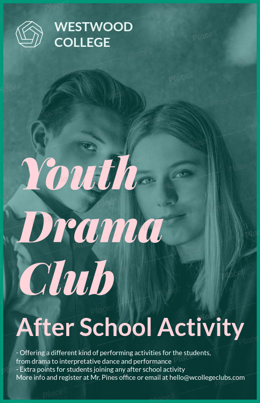 placeit youth drama club flyer maker