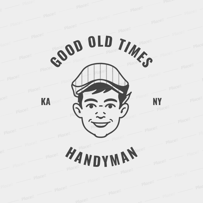 placeit retro logo template for handyman services