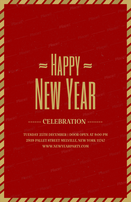 holiday flyer template for new years party 843eforeground image