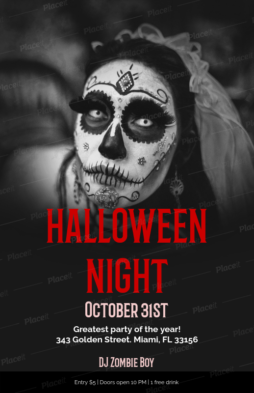 placeit halloween party online flyer maker with creepy images
