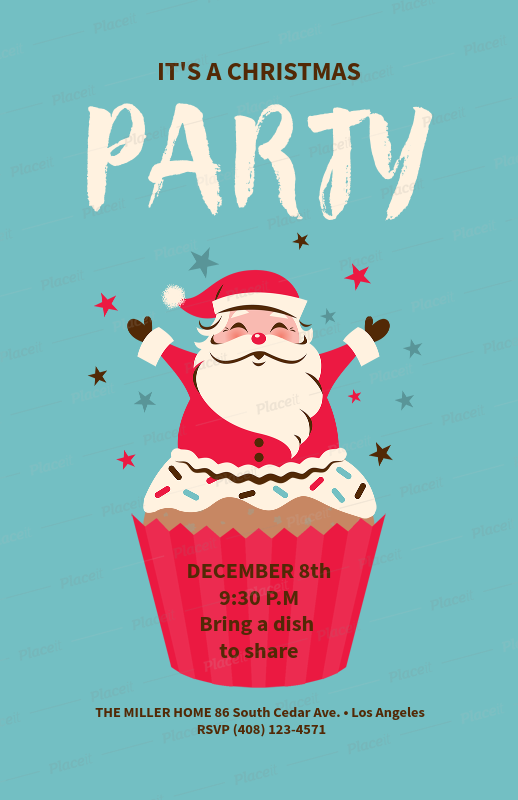 placeit christmas party flyer template for an x mas party