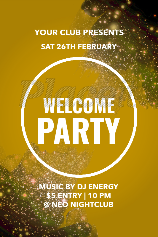 placeit welcome party poster maker with light graphics