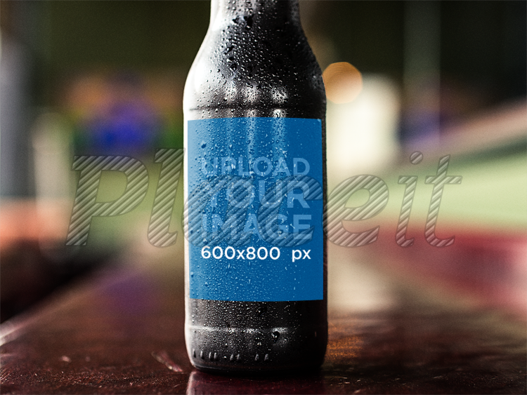 Placeit Dark Beer Bottle Label Template While On A Counter Bar - Beer bottle label template