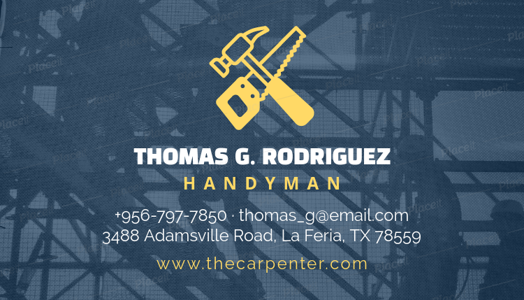 Placeit handyman business card template handyman business card template 491aforeground image wajeb Gallery