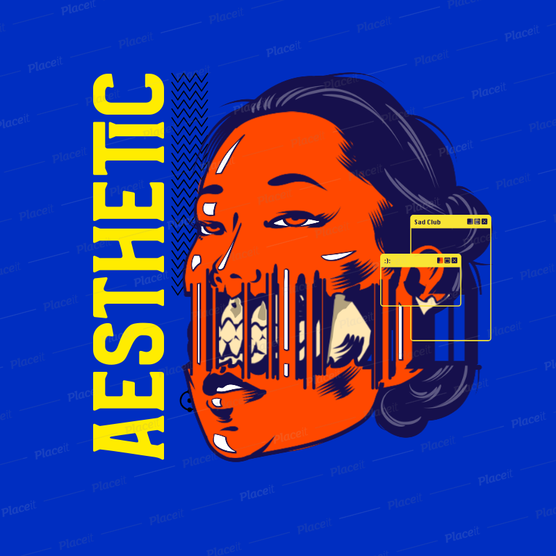 Placeit Music Logo Template Featuring A Distorted Woman Face Illustration