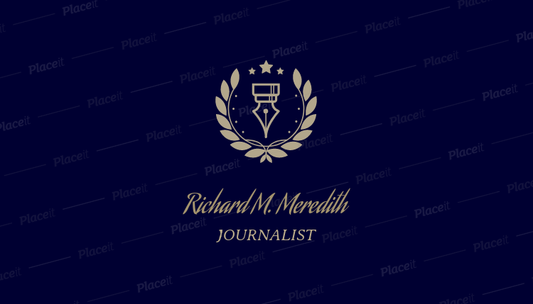 Business Card Template For Journalist Writers With Badges Icons 213e