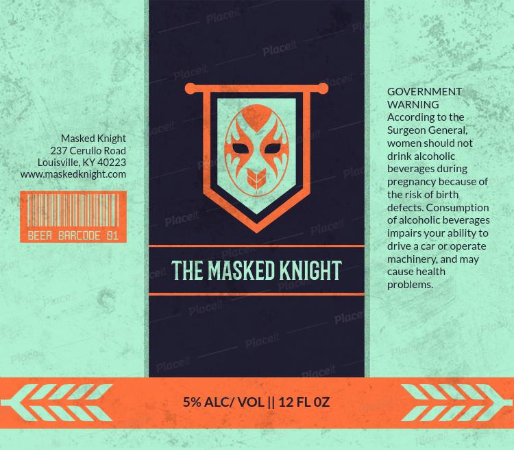 placeit beer label design template with wrestling art