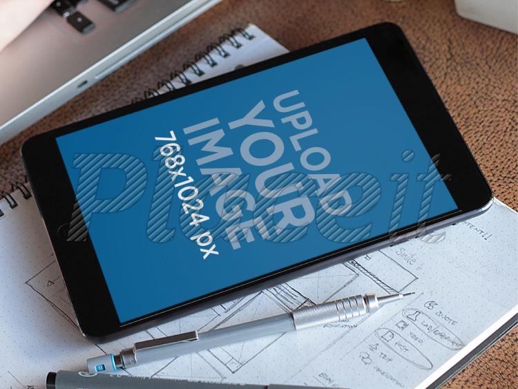 Placeit - Realistic Mockups templates! Black iPad Mini Pen