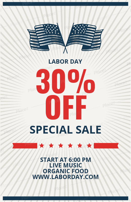 placeit special labor day sale flyer template
