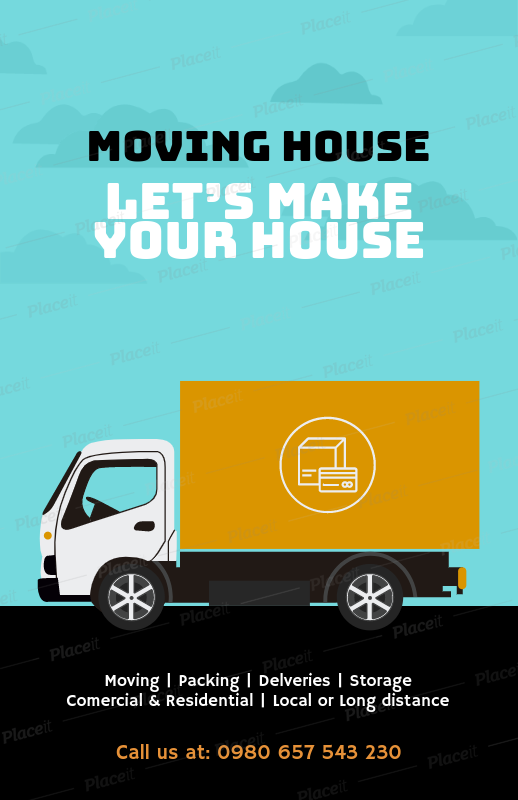 placeit flyer maker for moving companies with illustrated graphics