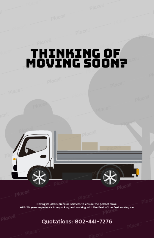 Placeit Moving Company Flyer Template With Illustration Graphics - Moving company flyer template