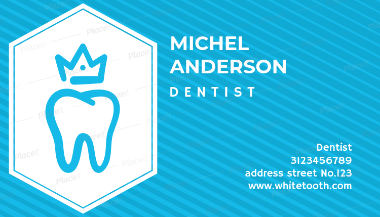 dentist business card with tooth and crown graphics 70aforeground image - Dentist Business Card