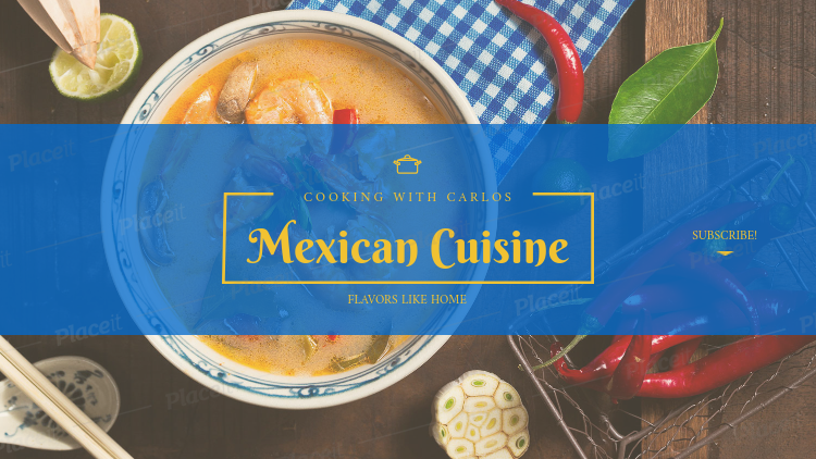 YouTube Banner Maker for a Mexican Cuisine Channel 1076a