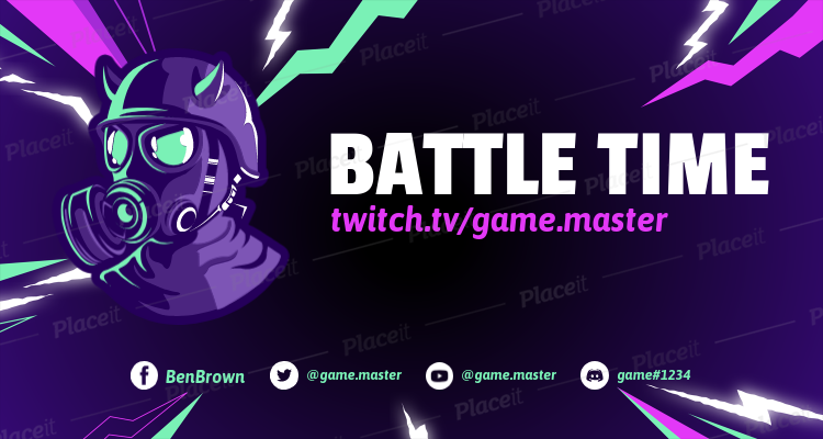 Twitch Banner Template With Thunderbolts And Fortnite Inspired Characters 1735j 1728