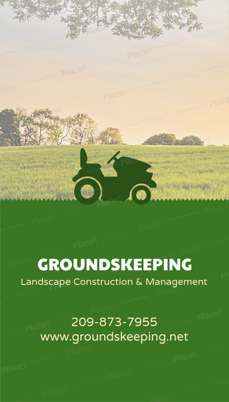 landscaping business cards with tractor icon 124dforeground image - Landscaping Business Cards