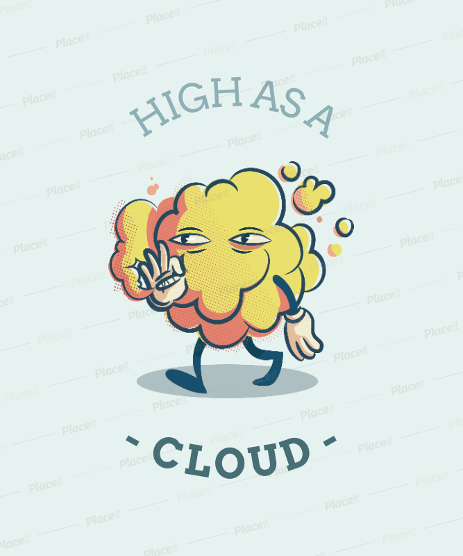 Placeit T Shirt Design Template Featuring A Weed Smoke Cloud