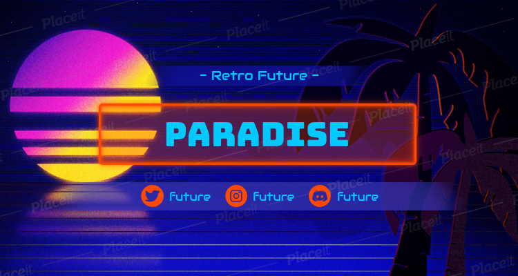 Twitch Banner Template Featuring a Retrowave Beach 1502i