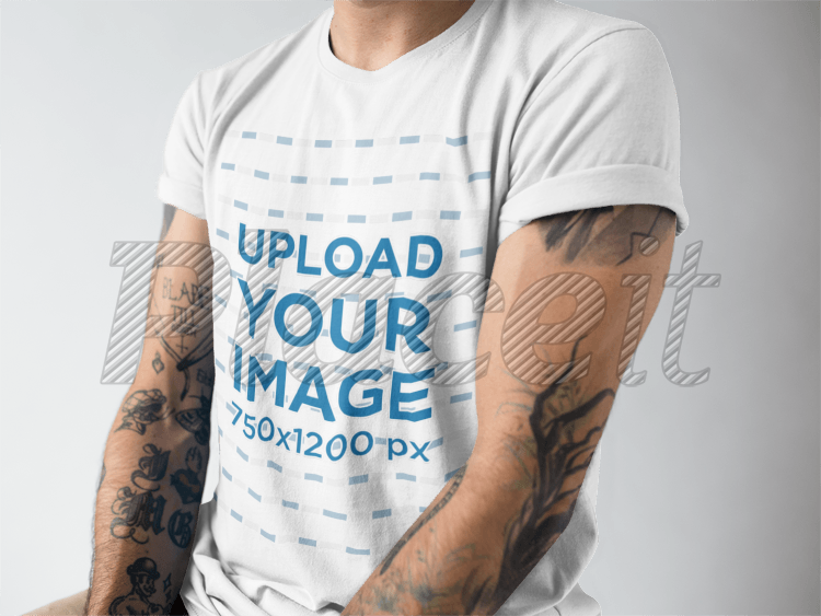 2bdc980f99592e Cropped Face Man Wearing a Rolled Up Sleeves T-Shirt Mockup  a17017Foreground Image