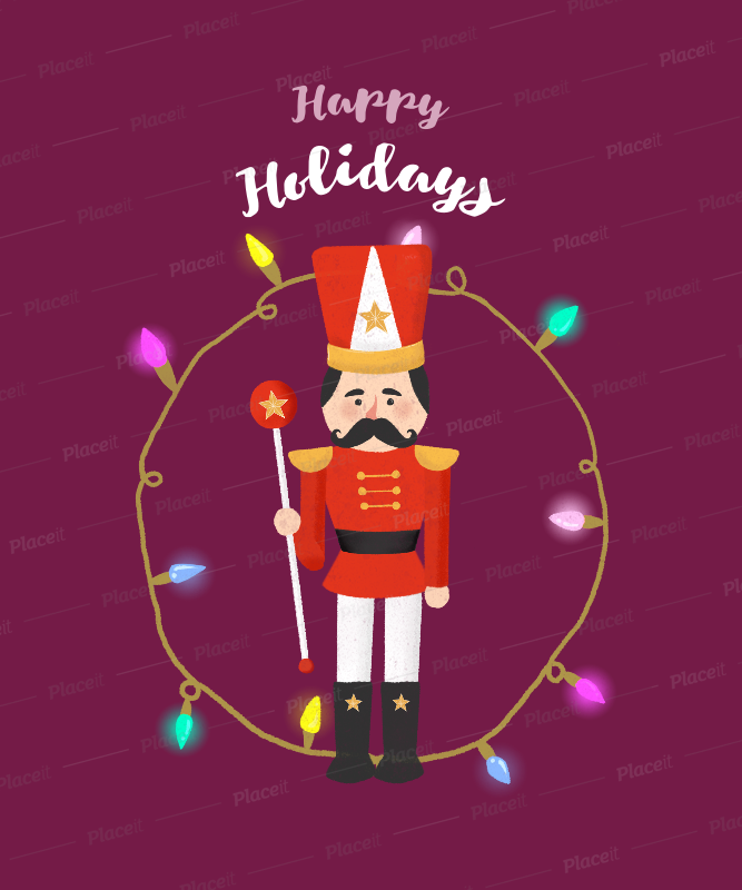 Placeit - Xmas T-shirt Design with Beautiful Nutcracker Graphics