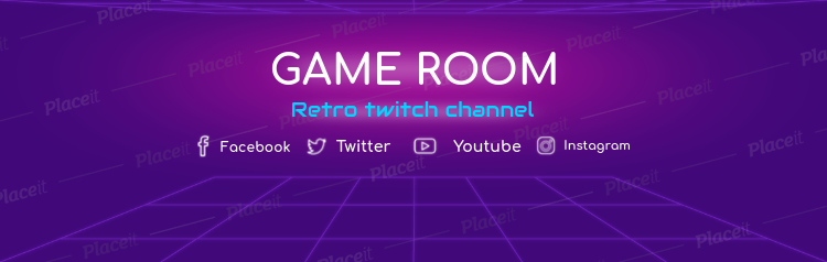 Retro Gaming Twitch Channel Banner Template 577Foreground Image